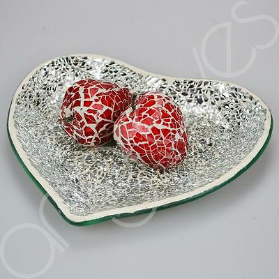 Set of 2 Mosaic Glass Strawberrys on a Pretty Silver Love Heart Plate Gift
