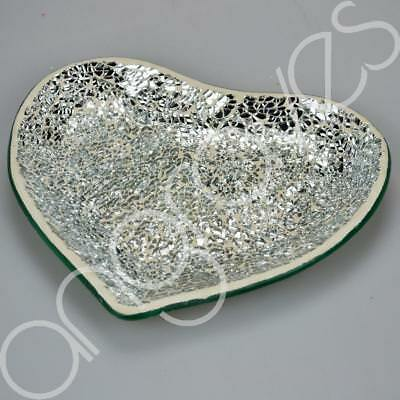 Love Heart Glass Silver Mosaic Plate For Candle Ball Decoration Home Decor Dish