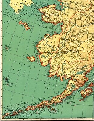 1945 Antique ALASKA Map w RAILROADS Original Rare Poster Print Size Map 1408