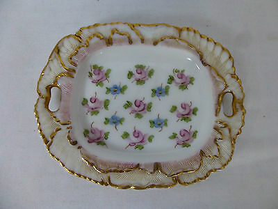 Vintage,Hand Painted Opaline Glass Pin Dish,Signed