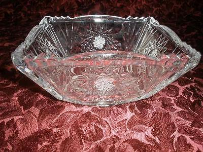 Stunning 24% Lead Bohemia Crystal Square Bowl Hand Etched Czechoslovakia
