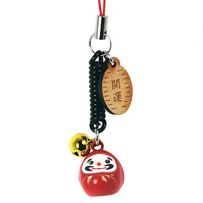 1 Pc. Japanese Key Chain Red Daruma Doll Mobil Cell Phone Car Charm/Made Japan