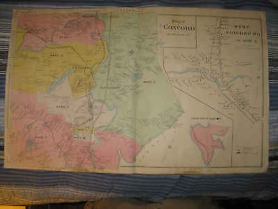 Huge Gorgeous Antique 1892 Concord Merrimack County New Hampshire Handcolor Map