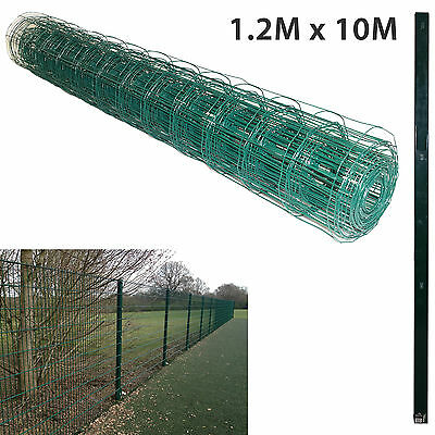 1.2M x 10M PVC Coated Green Mesh Chicken Rabbit Wire Fence Fencing & 1.5M Posts