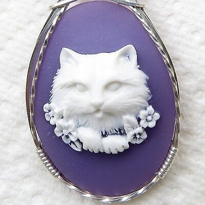 Flower Cat Cameo Pendant .925 Sterling Silver Animal Jewelry Purple Resin