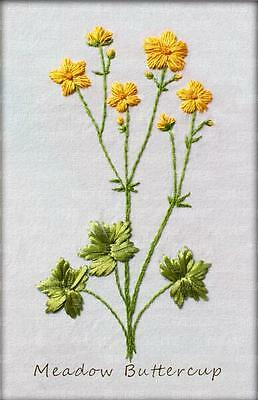 Ribbon Embroidery Kit Yellow Meadow Buttercup Needlework Craft Kit RE3006