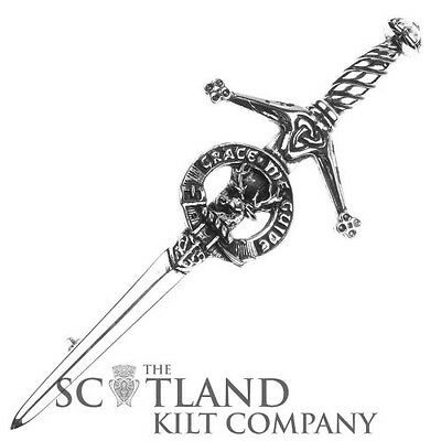 Mens Scottish Made Forbes Clan Crested Boxed Silver Kilt Pin by Art Pewter