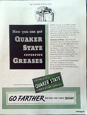 1936 Quaker State Oil Go Farther Before The First Squeak Car On Lift ad