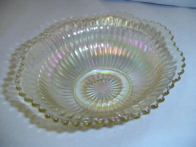 "Canival Glass Bowl Clear 2.5"" Tall Vintage"