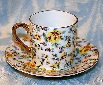 Vintage Antique Norcrest Chintz Porcelain Cup & Saucer Yellow Roses & Free Gift