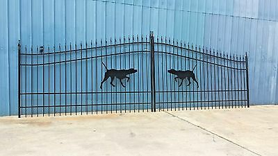 Wrought Iron Style Steel Driveway Entry Gate 16 Foot Wide Dual Swing Residential