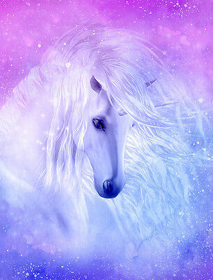 "Beautiful Unicorn flowing mane CANVAS PRINT horse fantasy poster Purple 24""X18"""