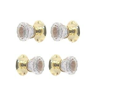 Two Complete Glass Knob Set- for Both Sides of Two French Doors - Polished Brass