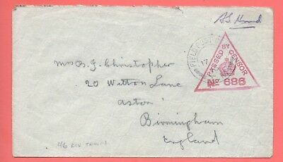 1915 Great Britain Wwi Forces Oas France Train Fpo Tm Censored Cover To Engl