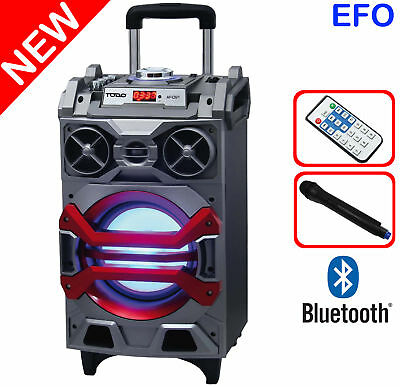 "BLUETOOTH 8"" ACTIVE SPEAKER SYSTEM PORTABLE DJ PA USB MicroSD WIRELESS MIC LED"