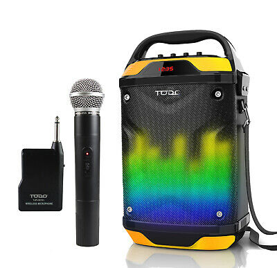 "Bluetooth 6.5"" + 2"" Active Speaker System Portable Dj Pa Wireless Mic Usb Led"