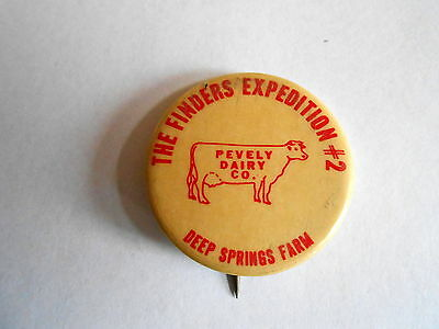 Vintage Finders Expedition #2 Pevely Dairy Co Deep Springs Farm Pinback Button