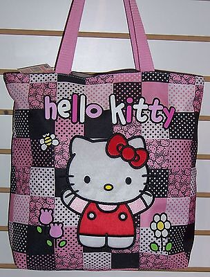 46a862818a92 Licensed Sanrio HELLO KITTY Pink   Black Patchwork TOTE Shoulder BAG Purse  NEW!