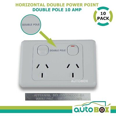 DOUBLE POLE Switch 10 AMP Power Point GPO x 10 for Caravan Motorhome Camper