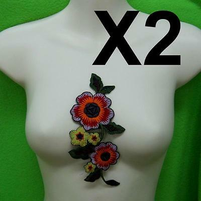 2 Rose Flower Collar Iron on Sew Patch Cute Applique Badge Embroidered Applique