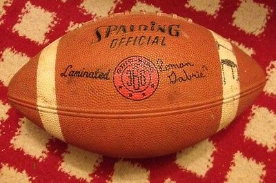Vintage 1960's Spalding 366 Football Roman Gabriel Rams Eagles With Hippies Insc
