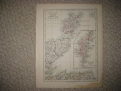 Antique 1890 Northeast Northwest North West East Scotland Map Shetland Islands N