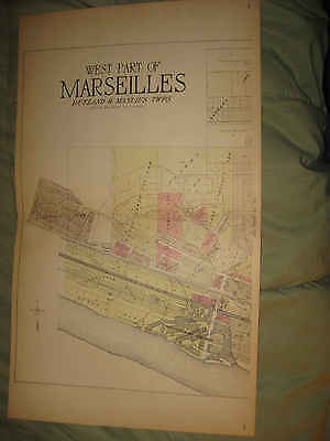 Antique Marseilles Groveland Osage Township Lasalle County Illinois Handcolr Map