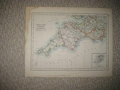 Antique 1890 England Southwest  & East Eastern Johnston Map Scilly Isles Superb