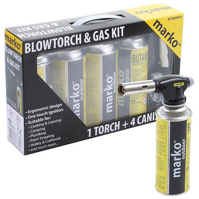 Marko Butane Blow Torch 4 Gas Paint Strip Plumbing Pipes Braze Stripper Wood UK