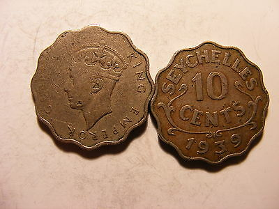 Seychelles 10 Cents, 1939, Average Circulated