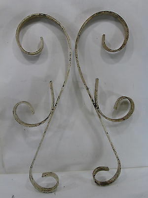 2 Vintage Wrought Iron Porch Rail Scrolls for Projects