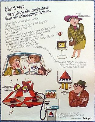 1967 Citgo Gas Station Few Smiles Away From Run Of The Pump Stations Cartoon ad