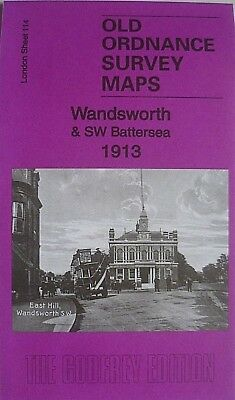 Old Ordnance Survey Detailed Maps Wandsworth & SW Battersea London 1913 S114 New