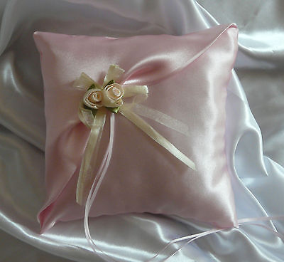 H MADE WEDDING RING PILLOW/BABY PINK PINK/ROSES/19x19cm/7.5''x7.5''/CLEARANCE