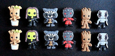 6 or 12 GUARDIANS OF THE GALAXY Croc Shoe Charms Jibbitz Crocs Wristbands
