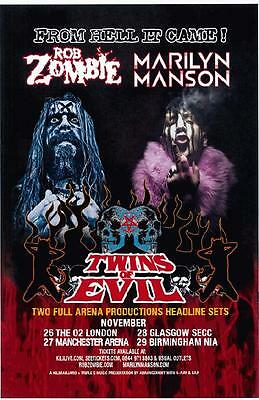 Rob Zombie Marilyn Manson United Kingdom 2012 Concert Poster Metal