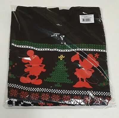 NWT Disney Store Kids Large L Black Mickey & Minnie Mouse Ugly Christmas T-Shirt