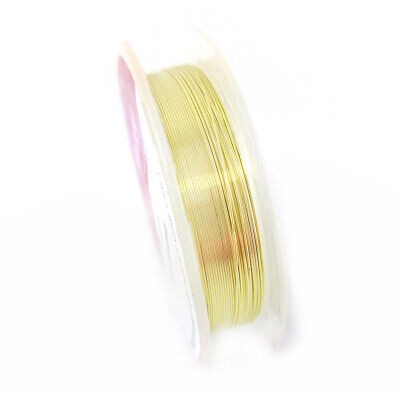 1 x Pale Gold Plated Copper 0.4mm x 20m Round Craft Wire Hanging Reel X1025