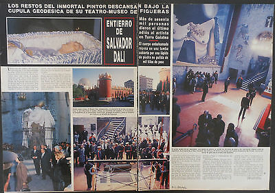 SALVADOR DALI Funeral Death 2 page 1989 magazine article photos clippings