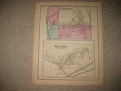 Superb Antique 1875 Smyrna Earlville Chenango County New York Handcolored Map Nr