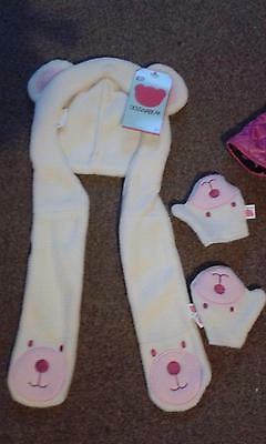Chad Valley Design A Bear Collection. Hat With Atached Scarf & Gloves Outfit.new