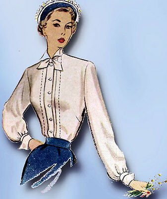 1940s Vintage McCall Sewing Pattern 7678 Uncut Misses Tucked Blouse Size 12 30B