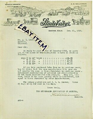 1918 Studebaker LETTERHEAD Williamson DENVER COLORADO CO Wagons Carriage BobSled