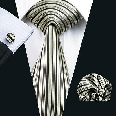 USA Classic Gold Black Striped Jacquard Woven Tie 100% Silk Necktie Party N-529