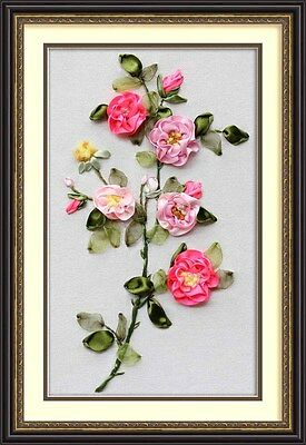 Ribbon Embroidery Kit Blooming Flowers Needlework Craft Kit RE3015