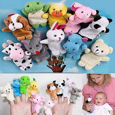 NT 10Pc Finger Puppets Cloth Plush Doll Baby Educational Hand Cartoon Animal Toy