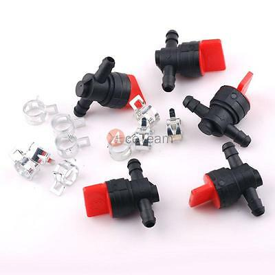 """5PCS 1/4"""" InLine Straight Fuel Gas Cut-Off / Shut-Off Valve Motorcycle + Clamps"""