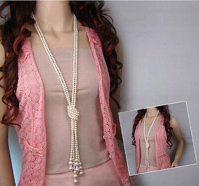 Pretty Women Long Chain Pearl Statement Pendant Chunky Choker Bib Necklace Gift