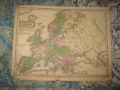 Antique 1847 Europe Handcolored Map Russia Prussia Turkey Austria