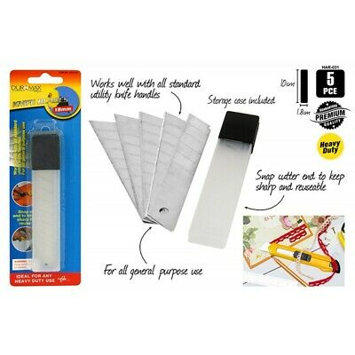 5pce 10x1.8cm Knife Blades w/ Sturdy Case, Great for In store, Home & Garage